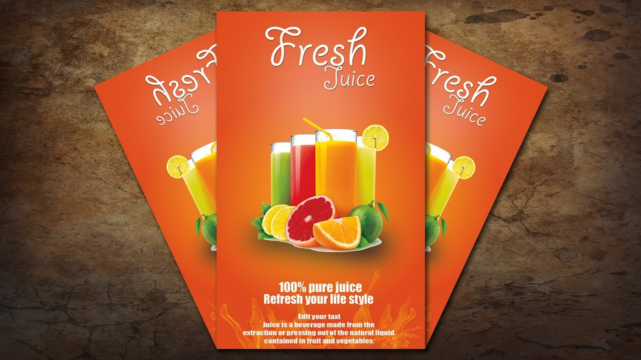 how to fruit juice poster flyer banner design in photoshop