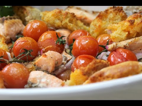 Рыба запечённая с овощами в итальянском стиле