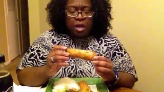 Mukbang Stir-fry, Egg Rolls and Rice Dinner