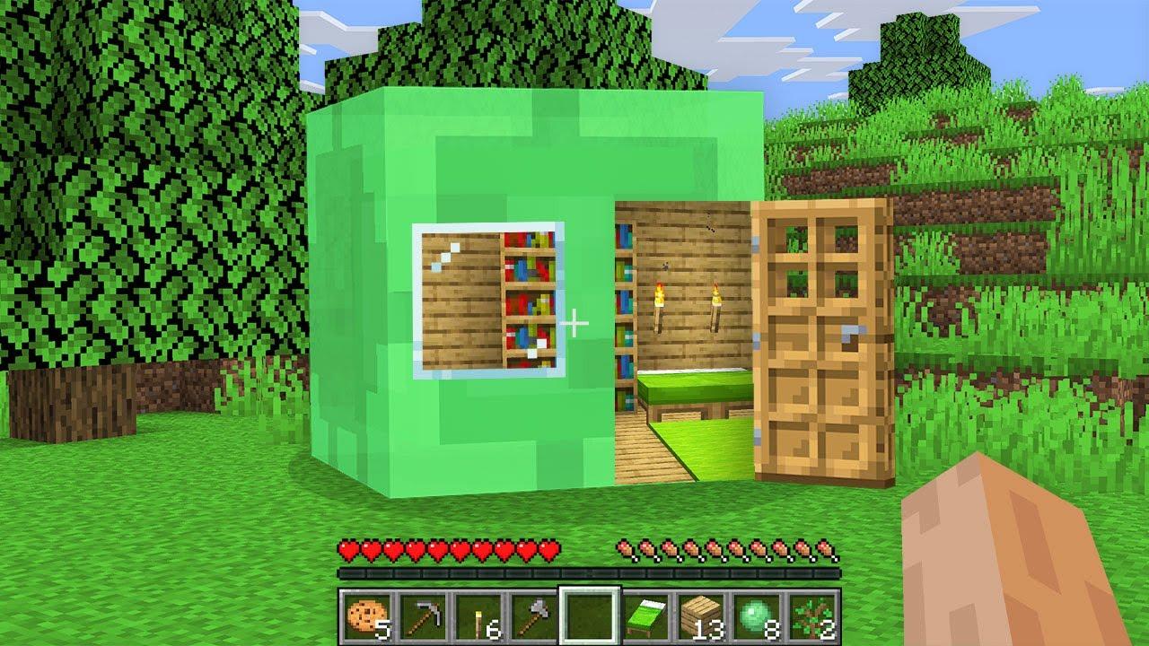 HOW NOOB BUILD BASE INSIDE SLIME STATUE!? Minecraft NOOB vs PRO vs HACKER vs GOD! 100% TROLLING