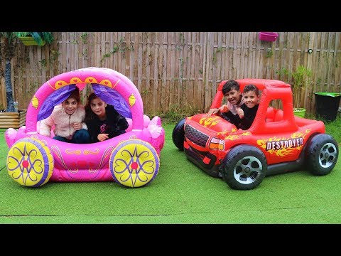 Boys VS Girl / Kids play in princess carriage, and inflatable car for boy, videos for kids