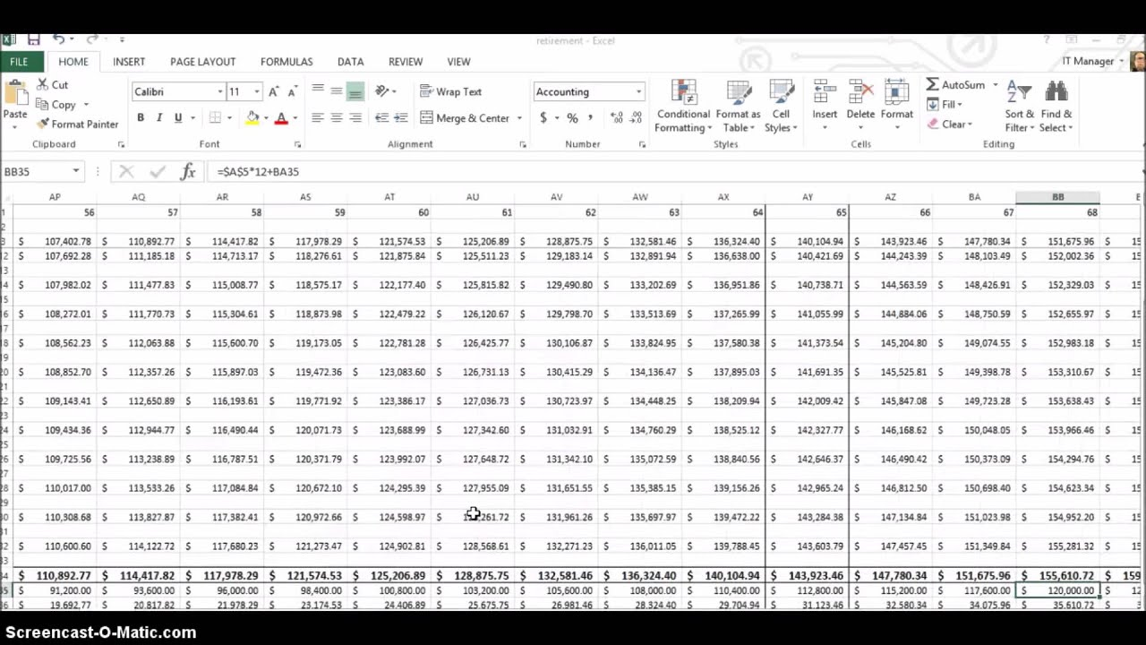 Retirement Planning Using Excel