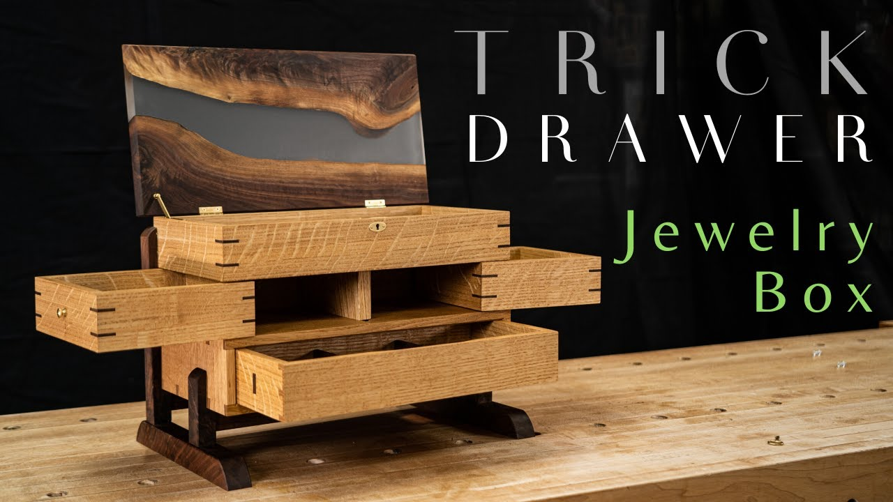 Secret Drawer Jewelry Box With Epoxy River Top Fine Woodworking Youtube