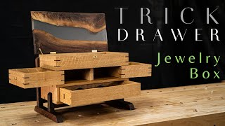 SECRET DRAWER Jewelry Box With Epoxy River Top // Fine Woodworking