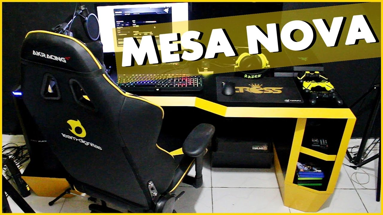 MINHA NOVA MESA GAMER VALEU ROCKETZ  YouTube