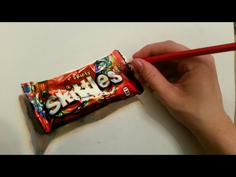 Speed Drawing: a bag of Skittles – Hyperrealistic art
