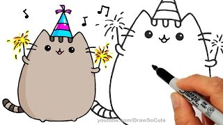 How to Draw Pusheen Cat for New Years Celebration step by step Easy