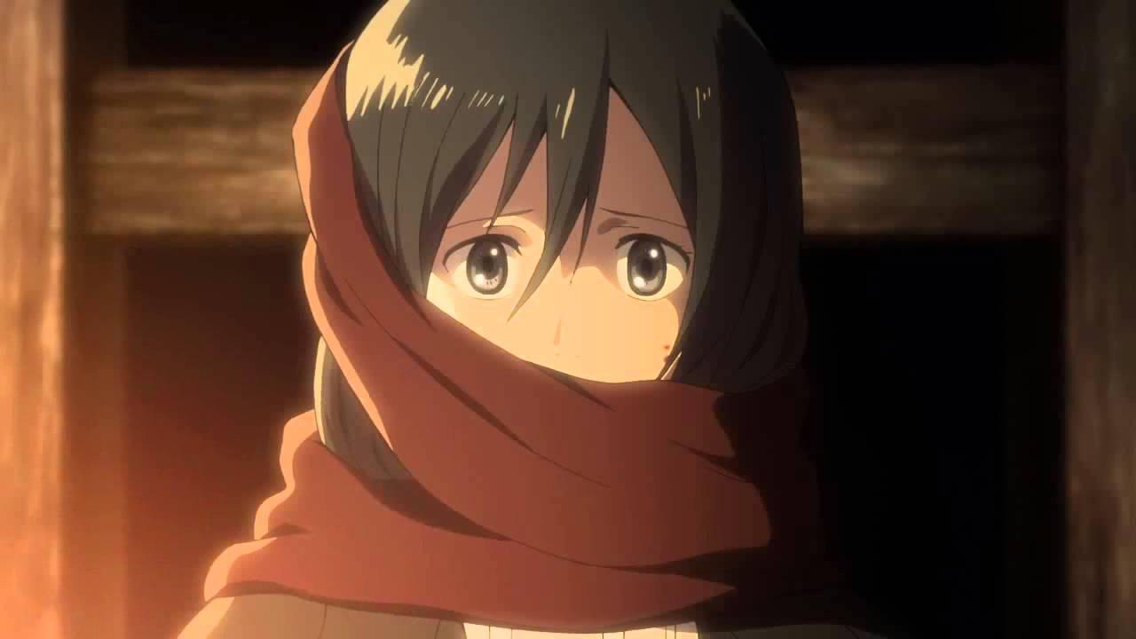 Shingeki No Kyojin Eren Gives His Scarf To Mikasa Hd Youtube