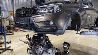 "DISASSEMBLED the NEW LADA Vesta SW CROSS 2020 CVT - What is the"" dream "" of the average Russian?"