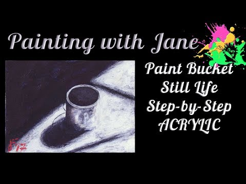 30 Days of Art #4 - Light & Shadow Bucket Step by Step Acrylic Painting on Canvas for Beginners