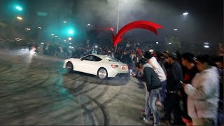 HALF THE CROWD GETS WIPED OUT! LA Car Scene Throws Down
