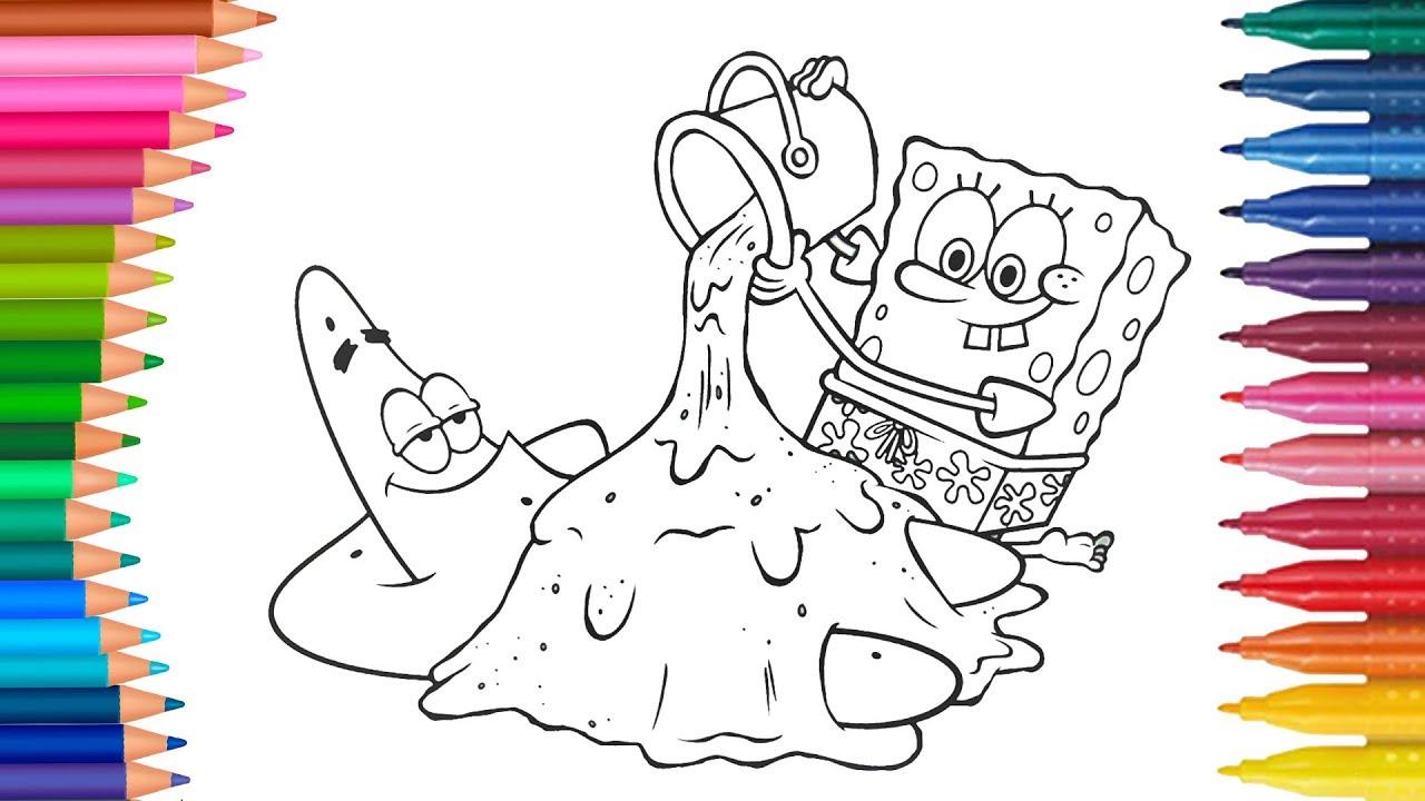 Dibujar Y Colorea Bob Esponja Y Patricio Estrella Dibujos Para Niños Aprender Colores