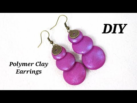 DIY- Less Than 5 minutes Earrings - Very Very Easy To Make Bright Color Polymer Clay Earrings