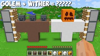 I can COMBINE BIĠGEST GOLEM and WITHER OF 1000 BLOCKS in Minecraft ! GOLEM + WITHER = ????