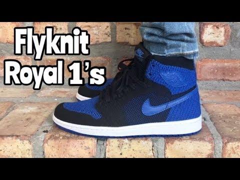 """37ea1f952340e9 Air Jordan 1 Flyknit """"Royal"""" on feet - YouTube"""
