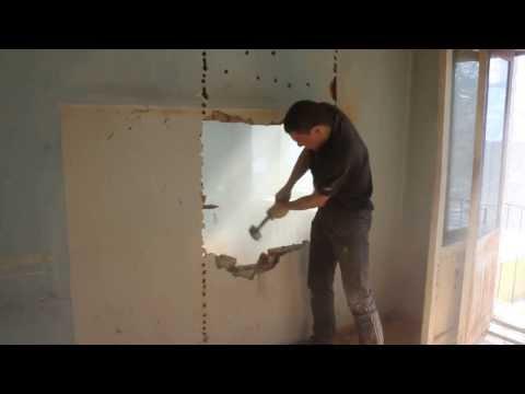 демонтаж стены под дверной проём on YouTube