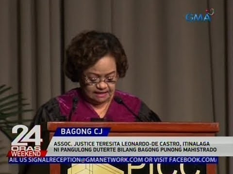 24 Oras: Teresita Leonardo-De Castro, itinalagang bagong Chief Justice