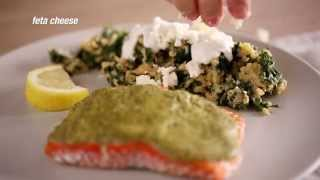 Herb Pesto Salmon With Quinoa Kale Salad