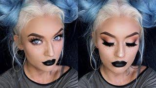Bold Black Lipstick Makeup Tutorial + Faux Freckles