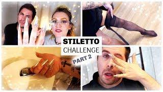 MALE STILETTO NAILS CHALLENGE - PART 2 | GEL GLITTER NAILS