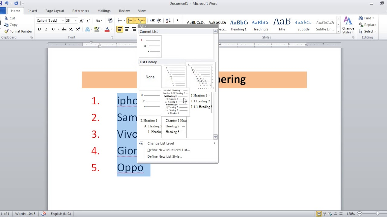 Bullets Number And Multilevel List In Microsoft Word Youtube