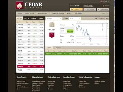 Cedar Finance Tutorial 1420$ in 7 Minutes with Binary Options Trading