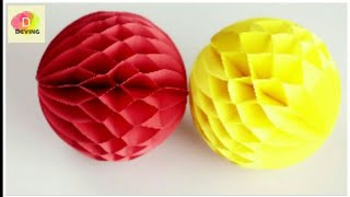 Paper Crafts: How to make a Paper Honeycomb Ball DIY [Deving]