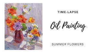"""Wild Field Flowers in Sunlight"" - alla prima oil painting demo by Lena Rivo"