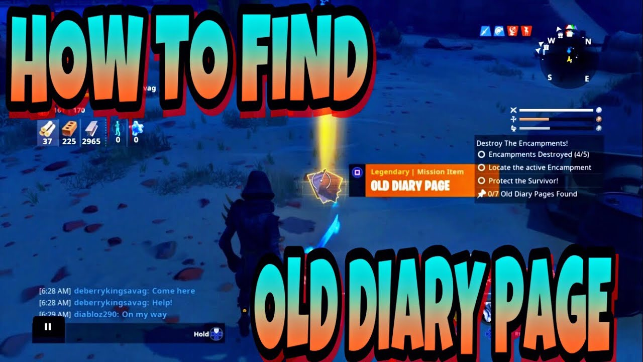 HOW TO FIND OLD DIARY PAGE IN FORTNITE SAVE THE WORLD