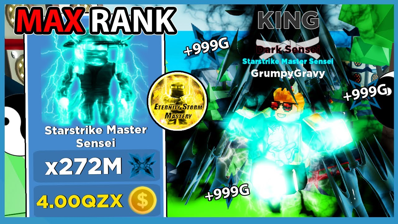 Buying The Max Rank Starstrike Master Sensei + New Eternity Storm Element In Roblox Ninja Legends