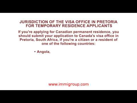 Jurisdiction of the visa office in Pretoria for temporary residence applicants
