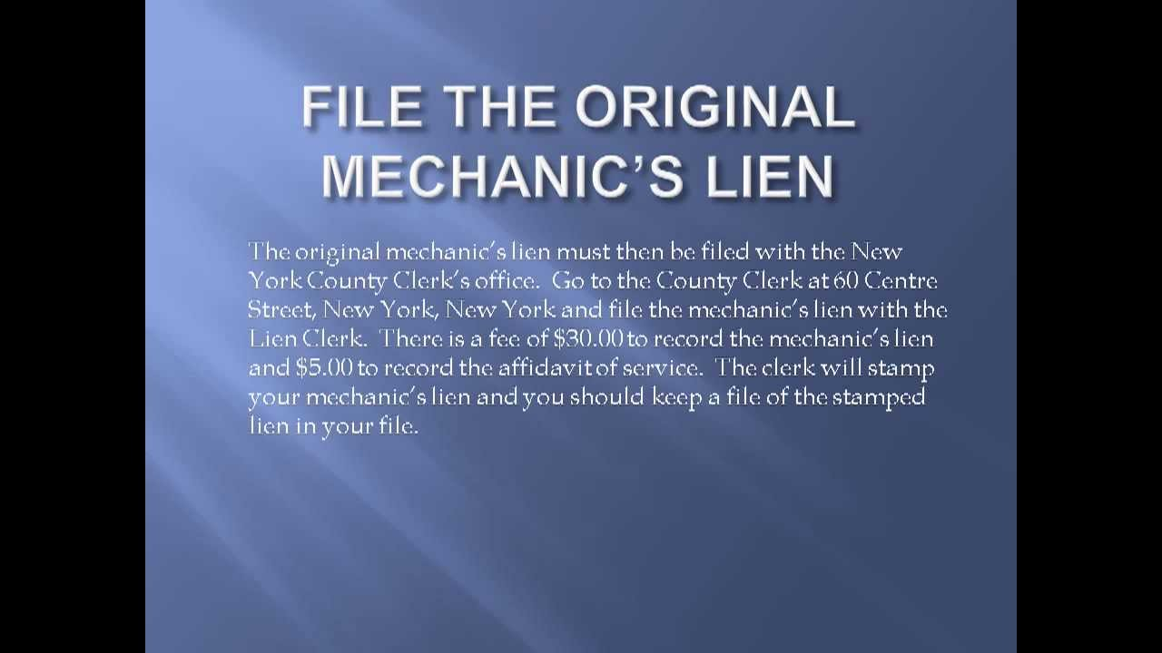 How to File a Mechanic's Lien in New York City - YouTube