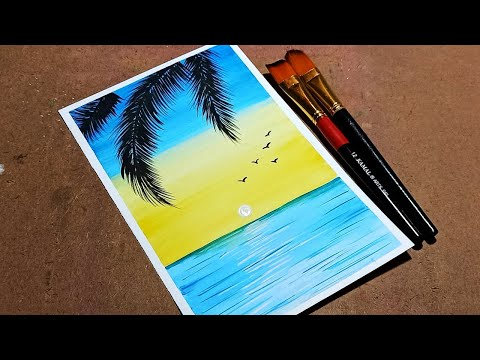 landscape painting for beginners, sunset in the ocean painting, watercolor painting tutorial