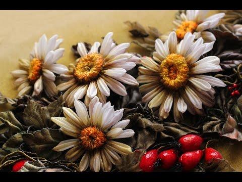 Цветок РОМАШКИ канзаши из лент / DIY Ribbon Flower KANZASHI