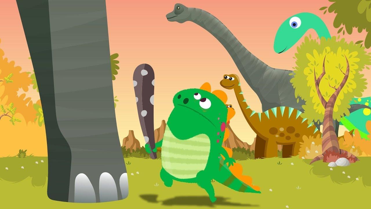 Dino E Dina Dinossauros Chocando Ovo Desenho Animado Com