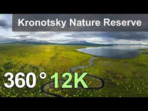 Kronotsky Nature Reserve, Kamchatka, Russia. Aerial 360 Video In 12K