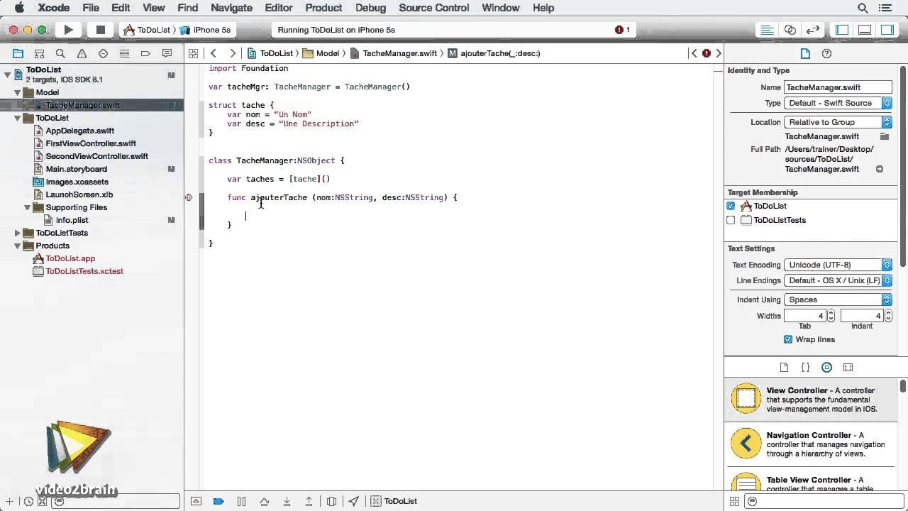 Tutoriel Swift : Créer différentes méthodes de classe | video2brain com