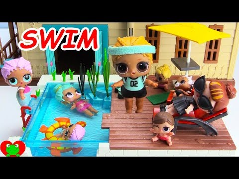 LOL Surprise Dolls and Lil Sisters Swim in New Swimming Pool