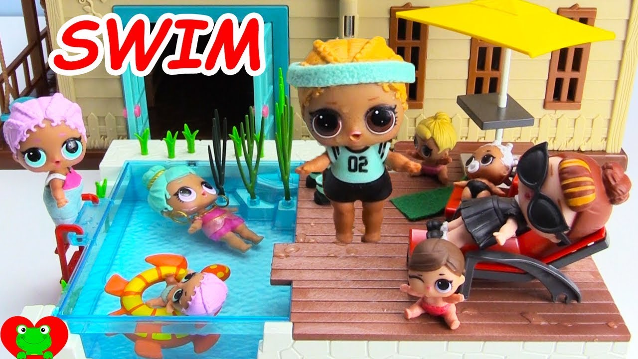 edbe04c31d061 LOL Surprise Dolls and Lil Sisters Swim in New Swimming Pool - YouTube