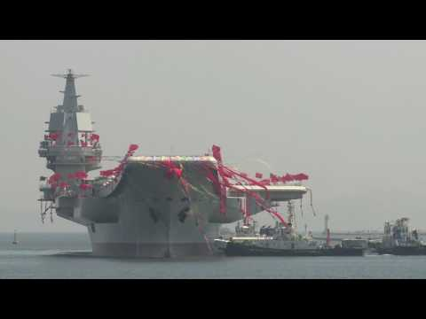 China's first domestically made aircraft carrier launched in Liaoning