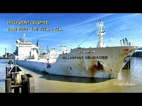 HELLESPONT CRUSADER V7RU7 IMO 9436410 Emden Germany Tanker Seaship merchant vessel Seeschiff Typhon