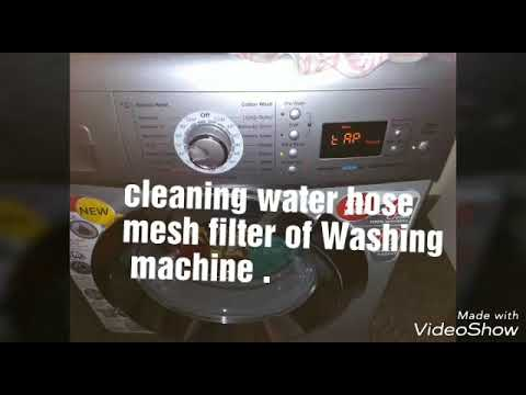 Washing machine inlet filter cleaning process front load