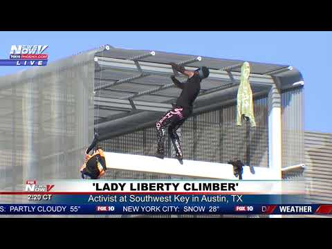 FULL COVERAGE: 'Lady Liberty Climber' Demonstrates at Southwest Key in Austin, TX (FNN)