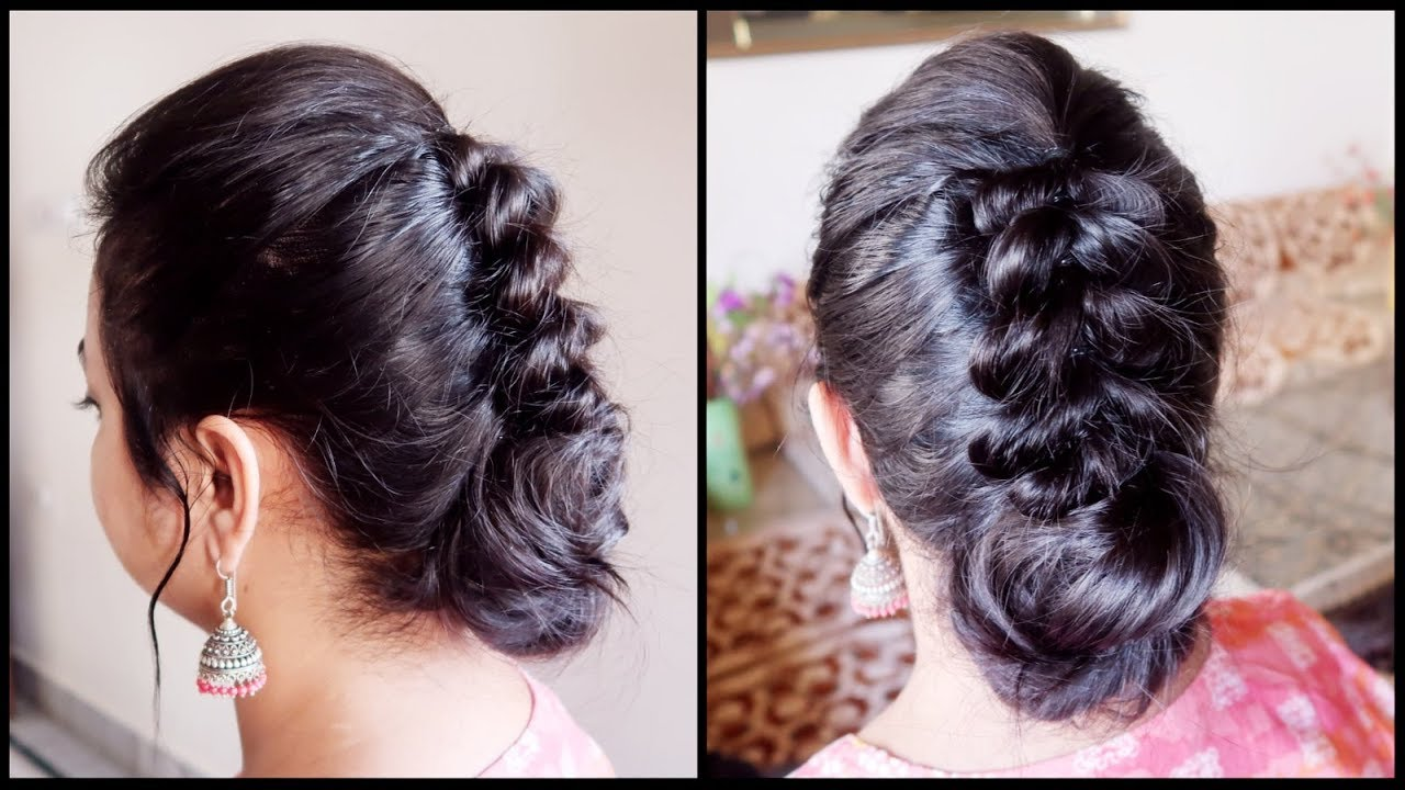 festive/wedding guest hairstyle for very thin hair// indian party bun hairstyle for medium hair