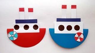 Кораблик. Качающиеся игрушки. Поделки из бумаги и картона своими руками.
