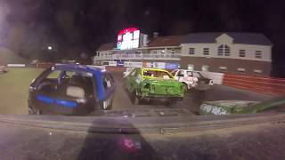 Bowman Gray Stadium Crash Fest Chain Race #46 team with head on crash into gaurdrail