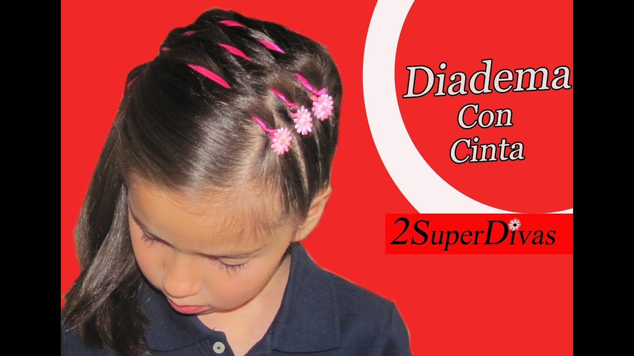 Como hacer peinado coleta de lado decorado con cinta - Peinados para ninas faciles de hacer ...