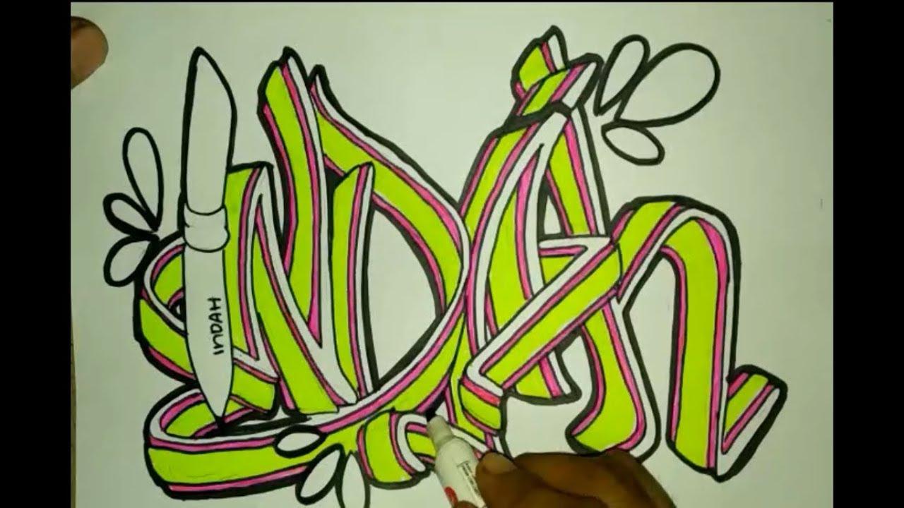 Membuat Graffiti Nama Indah Youtube
