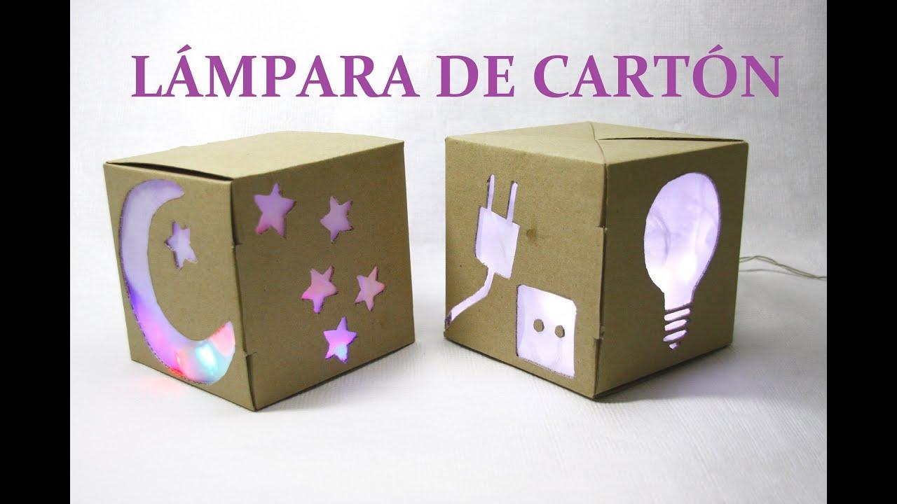 Hacer l mpara con caja de de cart n y luces de navidad - Cajas para manualidades ...