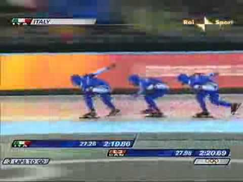 GOLD Teampursuit Italian speedskaters Torino 2006